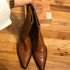 Cowgirl Western Leather Low Heeled Zip Up Texas 8